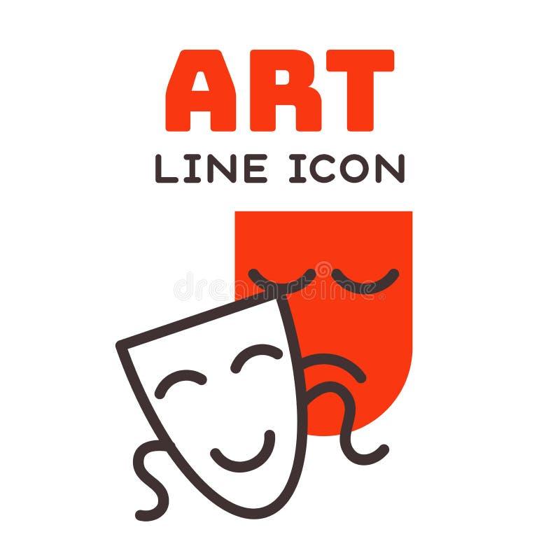 Komedii i tragadiego teatralnie masek komediowy symbol i wektoru teatru humoru występ stawiamy czoło ilustracyjną odznakę ilustracja wektor
