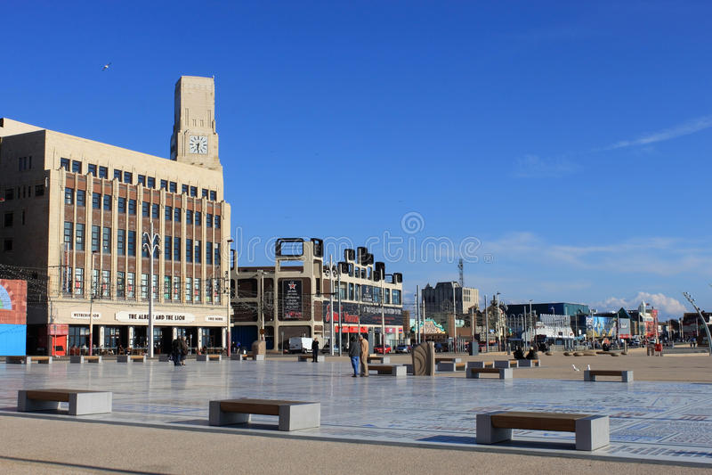 Komedimatta och promenad, Blackpool, Lancashire royaltyfria foton