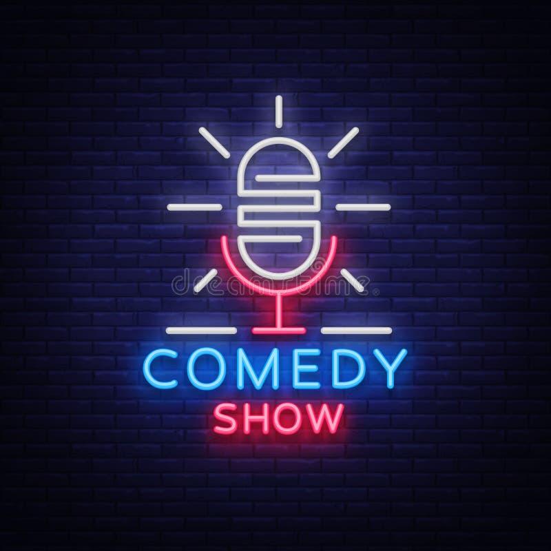 Komedishowen står inbjudan är upp ett neontecken Logo ljus reklamblad för emblem, ljus affisch, neonbaner, briljant natt stock illustrationer
