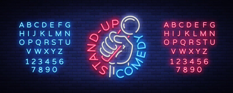 Komedishowen står inbjudan är upp ett neontecken Logo ljus reklamblad för emblem, ljus affisch, neonbaner, nattreklamfilmer stock illustrationer