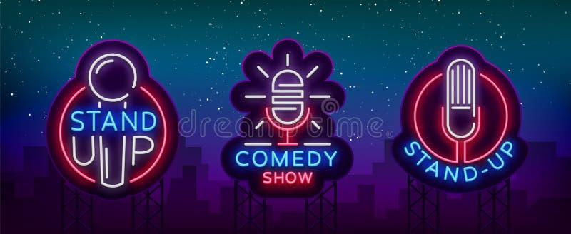 Komedishowen står upp en inbjudansamling av neontecken Logotypuppsättning, ljus reklamblad för emblem, ljus affisch, neon royaltyfri illustrationer