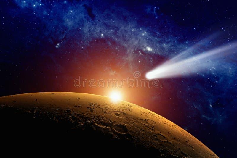 Komeet die Mars nadert royalty-vrije illustratie