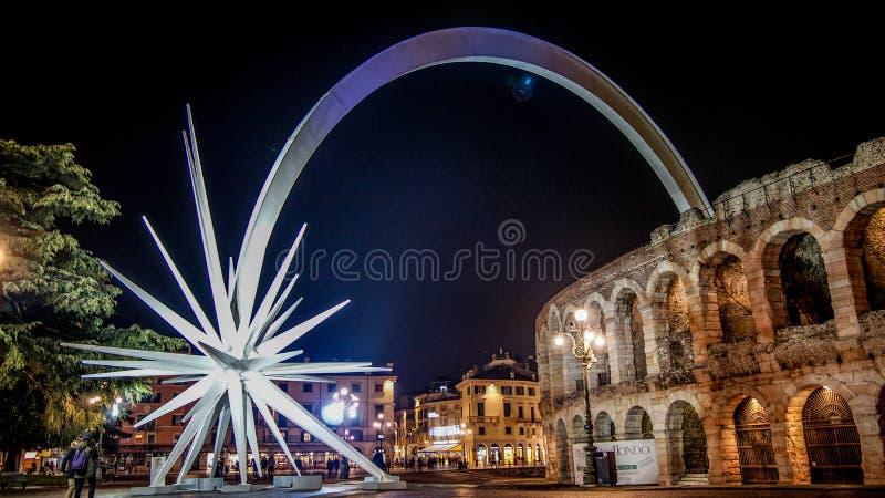 Komeet op de Arena Verona Italy stock afbeelding