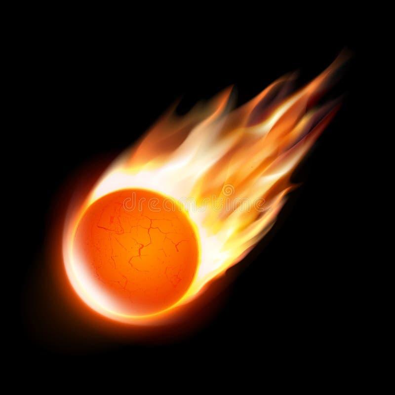komeet op zwarte achtergrond Vector vector illustratie