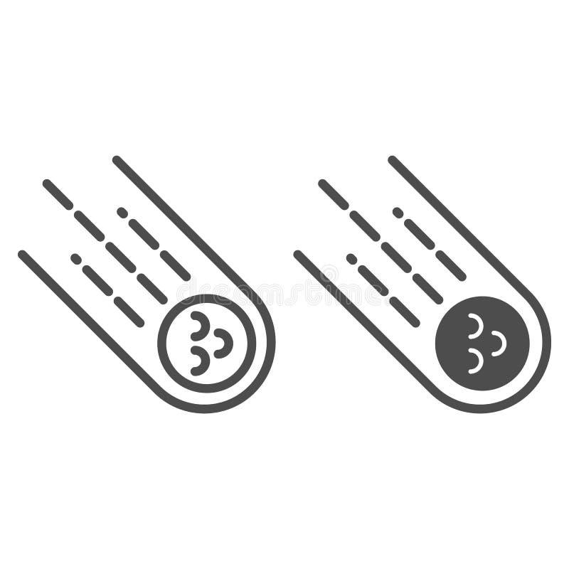 Komeetlijn en glyph pictogram Meteoriet vectordieillustratie op wit wordt geïsoleerd Het stervormige die ontwerp van de overzicht vector illustratie