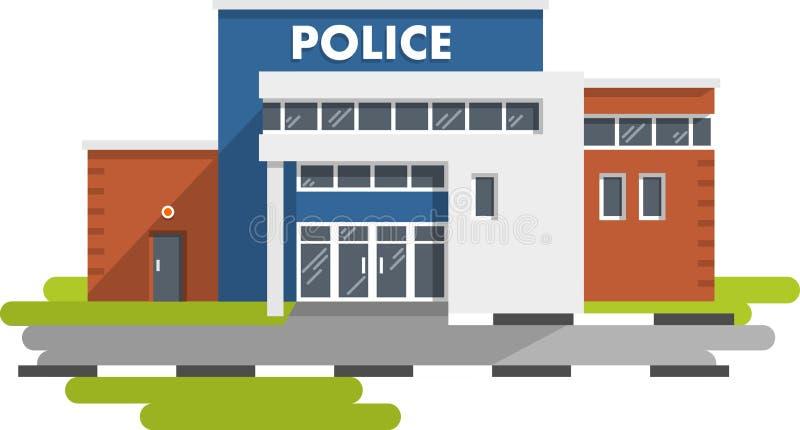 Komenda policji budynek na białym tle ilustracji