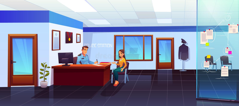 Komenda policji z policjanta i dziewczyny gościem ilustracji