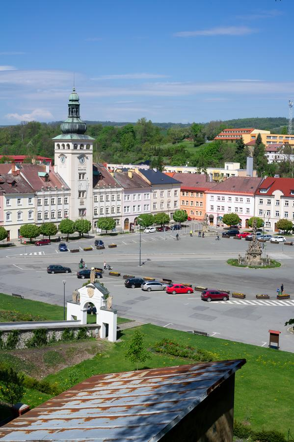 Komensky square, Fulnek, Czech Republic / Czechia. May 1, 2019: Historical building of Municipality on the Komensky square. Landmark and monument in the royalty free stock photography
