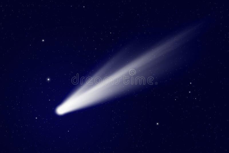 Komet i utrymme stock illustrationer