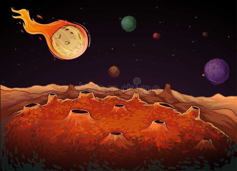 Komet och andra planeter i galax stock illustrationer