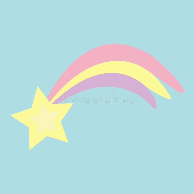 Kometa meteorowy płomień z gwiazdowym olśniewającym ikona kształtem Strzelać spada gwiazdy Pastelowy kolor Płaski projekta niebie ilustracja wektor