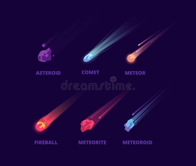 Kometa meteoryt i asteroida Kreskówki przestrzeni przedmioty Atmosferyczny kula ognista wektoru set royalty ilustracja