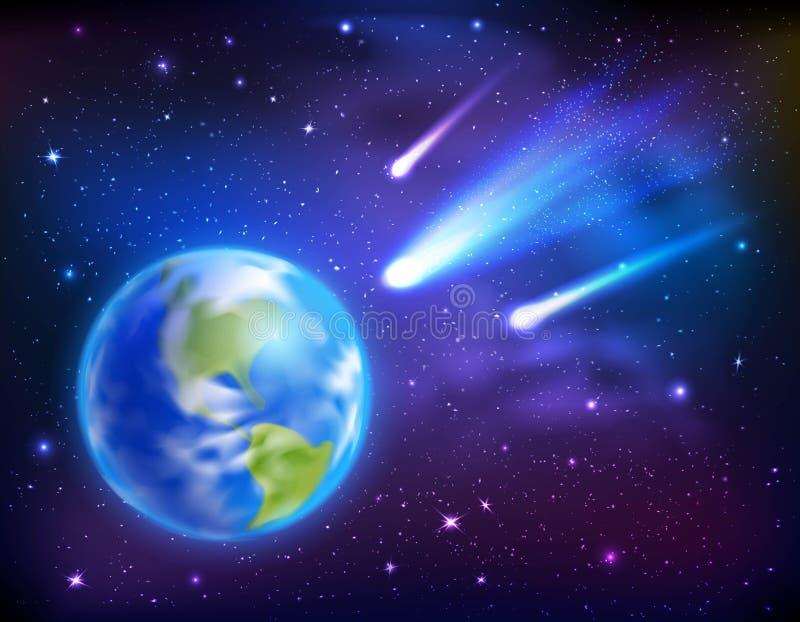Kometen, die zum Erdhintergrund kommen vektor abbildung