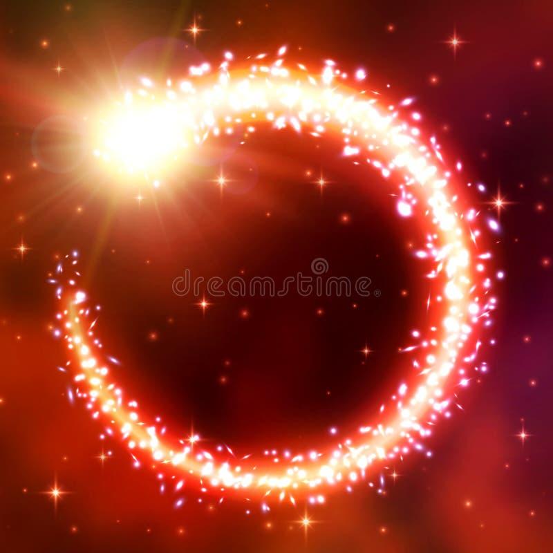 Kometenfliege in einem Kreis Blendenfleckeffekt, -bokeh und -greller Glanz Eine chaotische Turbulenz von glänzenden Partikeln Lic lizenzfreie abbildung