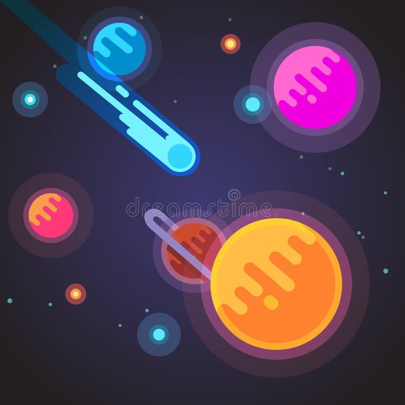 Kometflyg till och med galax för djupt utrymme stock illustrationer