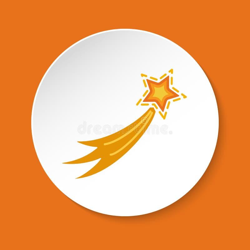 Komety ikona w mieszkanie stylu na round guziku ilustracji
