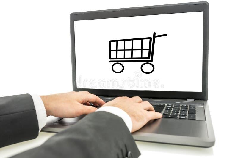 Komfort av online-shopping arkivbild