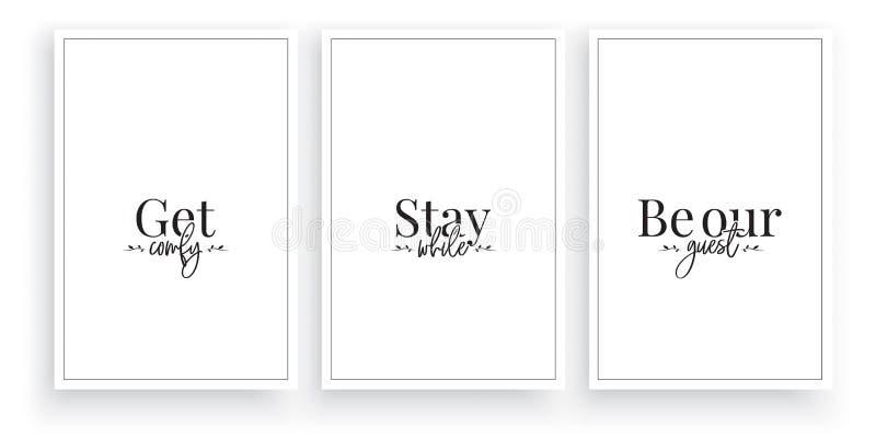 Komfort, bleiben Sie bei uns, seien Sie unser Gast, Vektor Tongestaltung, Schrift Minimalistische Postergestaltung Minimaler Hint lizenzfreie abbildung
