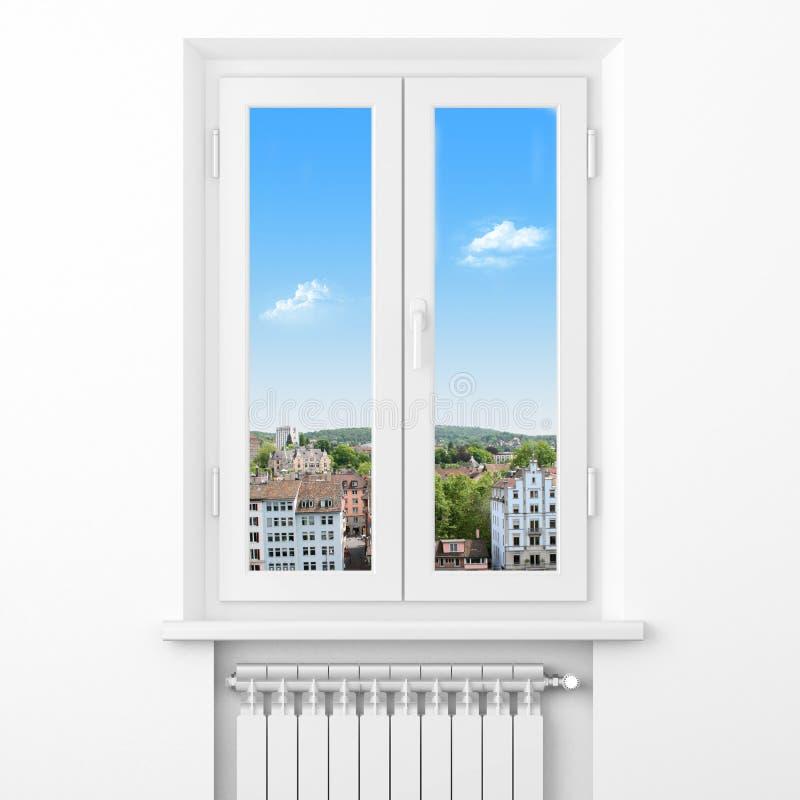Komfort i hus. Värmeapparatelement i rum vektor illustrationer