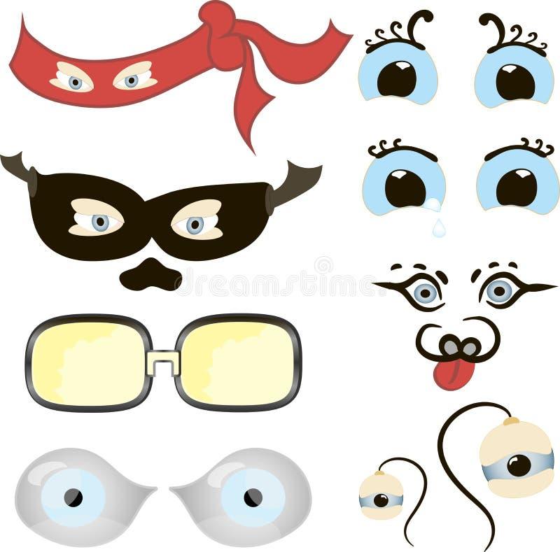 Komiczek oczy Ustawiają, ilustracja set śmieszna kreskówki istota ludzka, zwierzęta, zwierzęta domowe lub istoty ` s ono przygląd royalty ilustracja