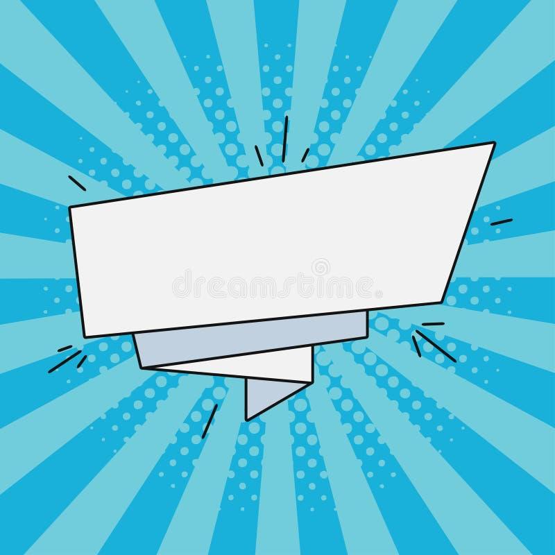 Komiczka papierowy sztandar dla teksta Retro pusty mowa bąbel, kreskówki etykietka Ilustracja w wystrzał sztuki stylu również zwr ilustracji