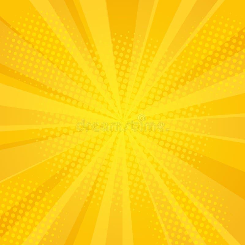 Komiczka promieni tło z halftones ilustracja wektor