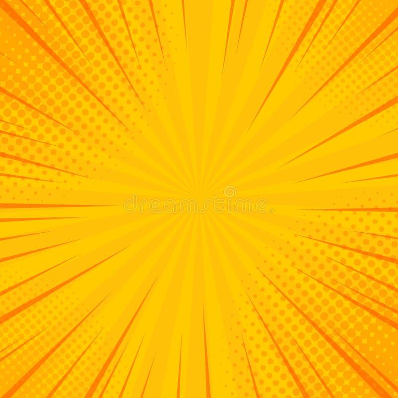 Komiczka promieni tło z halftones Wektorowy lata tło dla twój ilustracj ilustracja wektor