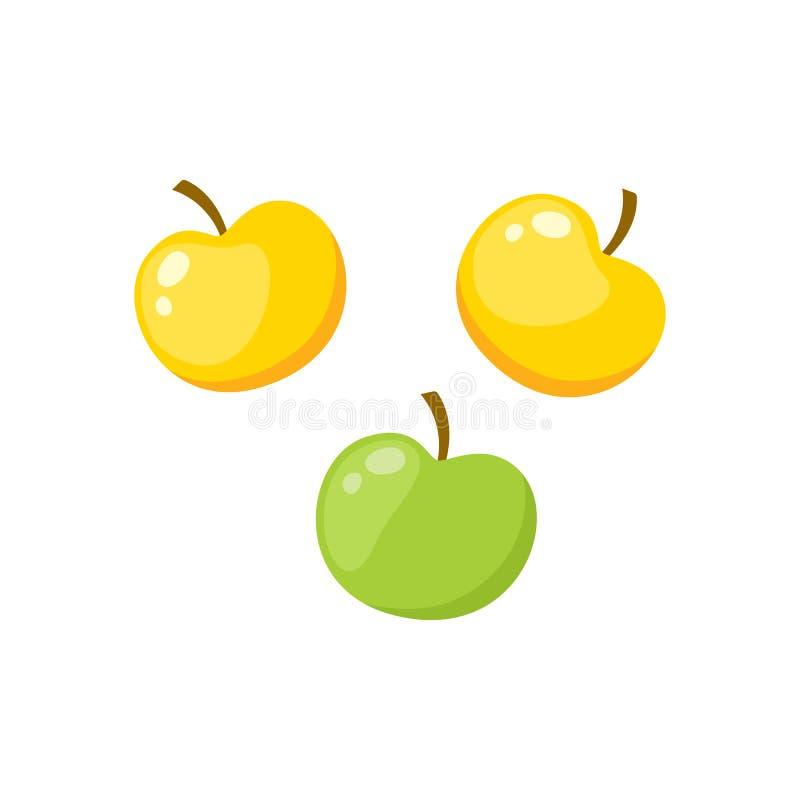 Komiczka stylu set zieleni i żółci jabłka ilustracja wektor
