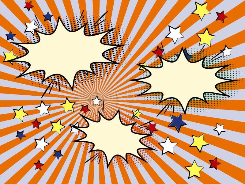 Komiczka szablonu słońca retro promień lub gwiazdowy wybuchu element ilustracja wektor
