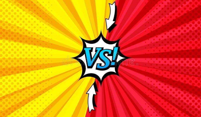 Komiczka versus jaskrawy horyzontalny tło ilustracji