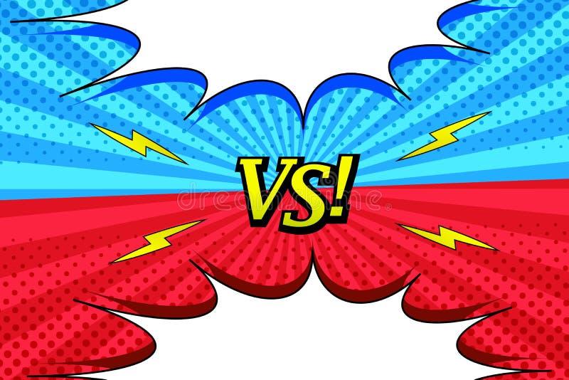 Komiczka versus jaskrawy horyzontalny tło royalty ilustracja