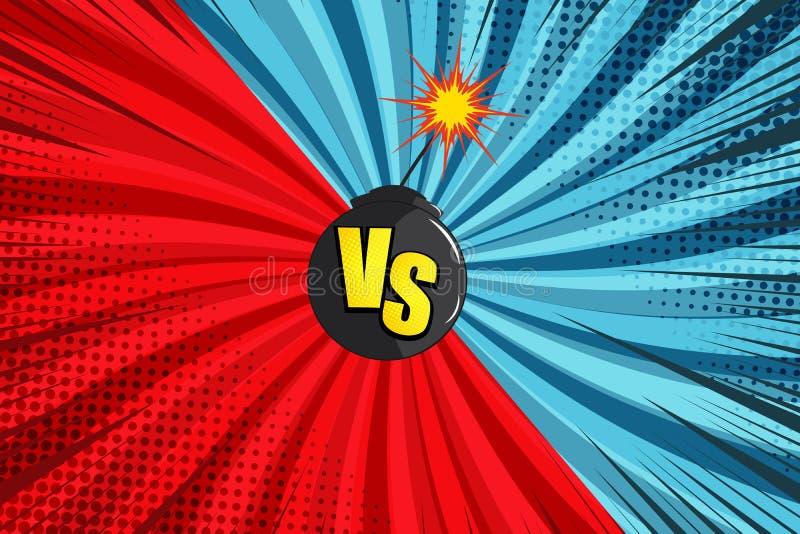 Komiczka versus jaskrawy pojęcie ilustracja wektor