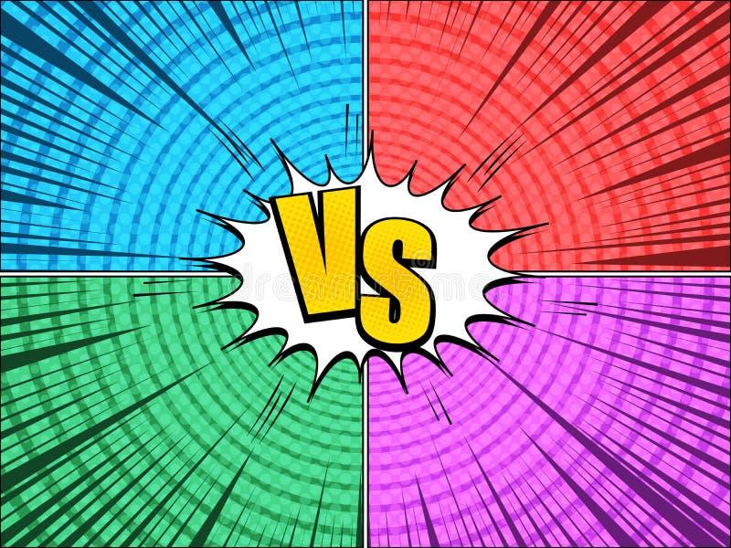 Komiczka versus jaskrawy skład ilustracja wektor
