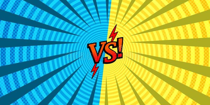Komiczka versus rywalizujący z sobą tło ilustracja wektor