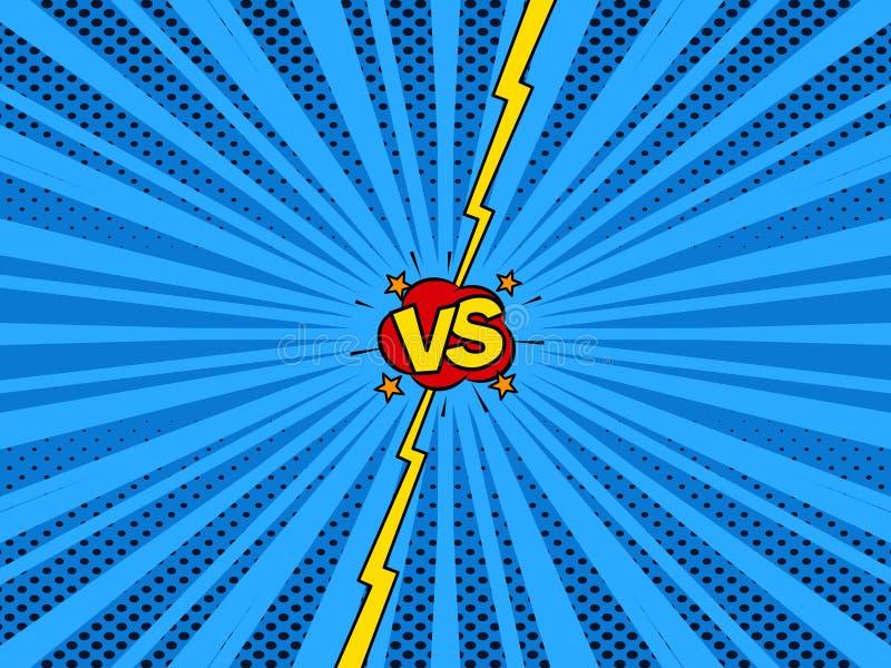 Komiczka versus super bohatera bitwy wstępu tło royalty ilustracja