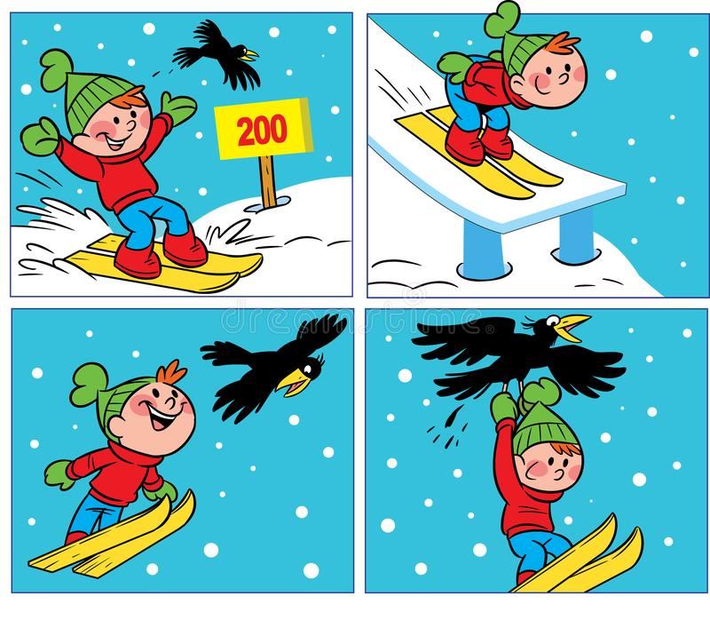 Komiczka z wroną i chłopiec ilustracji