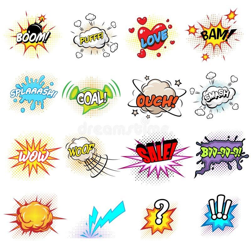 Komiczki mowa i wybuchów bąble ilustracji