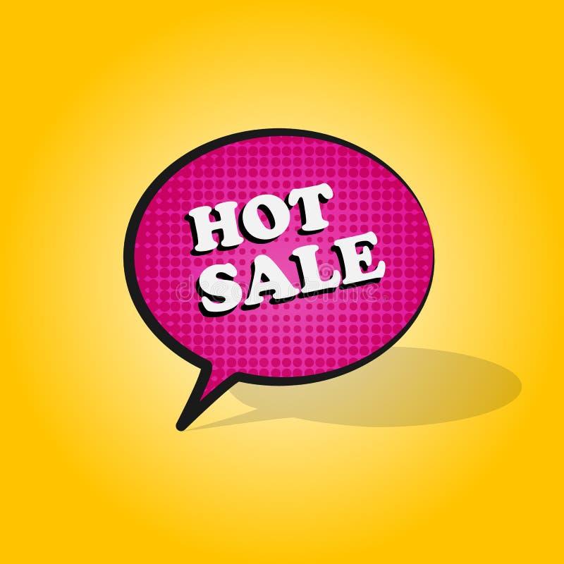 Komiczki mowy różowy bąbel z wyrażeniowego teksta GORĄCĄ sprzedażą na żółtym tle Wektorowy jaskrawy dynamiczny kreskówka koloru h ilustracji