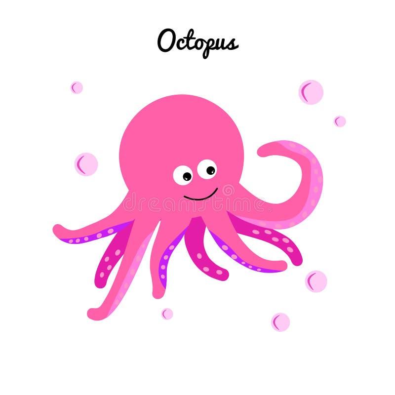 Komiczki różowa ośmiornica z bąbel wodą Kreskówka charakteru morska dziewczyna Ocean ilustracyjne Edukacyjne karty dla dzieciaków ilustracji