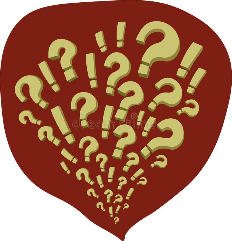 Komiczki z pytaniami i okrzyk ocenami w czerwonym bąblu ilustracja wektor