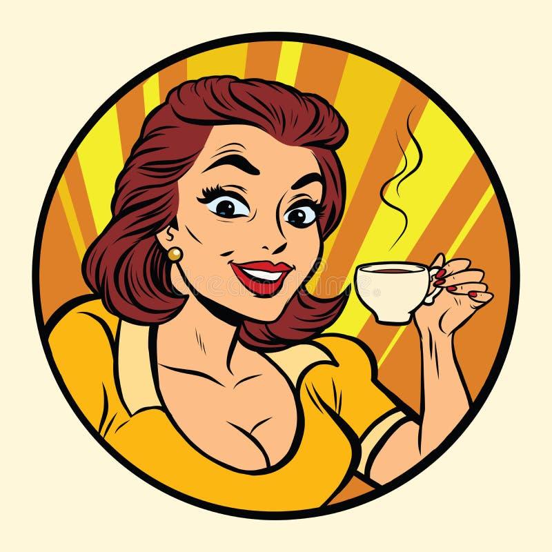 Komiczna młoda piękna kobieta pije kawę ilustracja wektor
