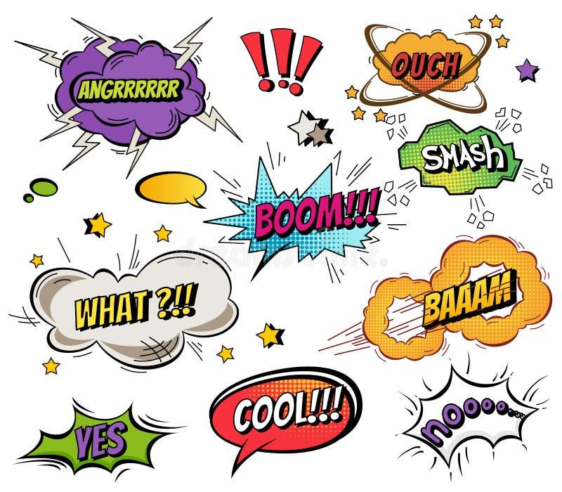 Komiczna mowa gulgocze i pluśnięcia ustawiający z różnymi emocjami i tekst kreskówki Wektorowymi jaskrawymi dynamicznymi ilustrac ilustracja wektor