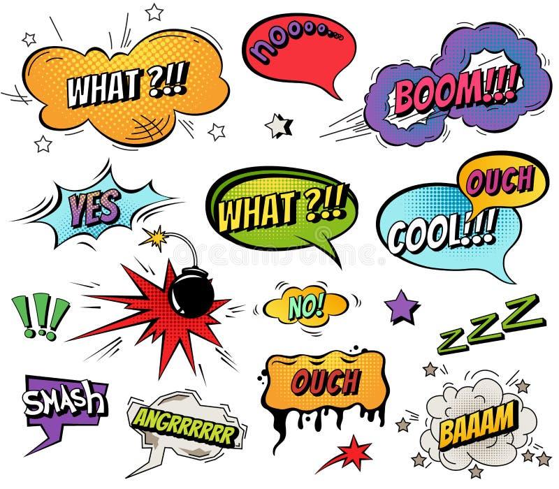 Komiczna mowa gulgocze i pluśnięcia ustawiający z różnymi emocjami i tekst kreskówki Wektorowymi jaskrawymi dynamicznymi ilustrac ilustracji