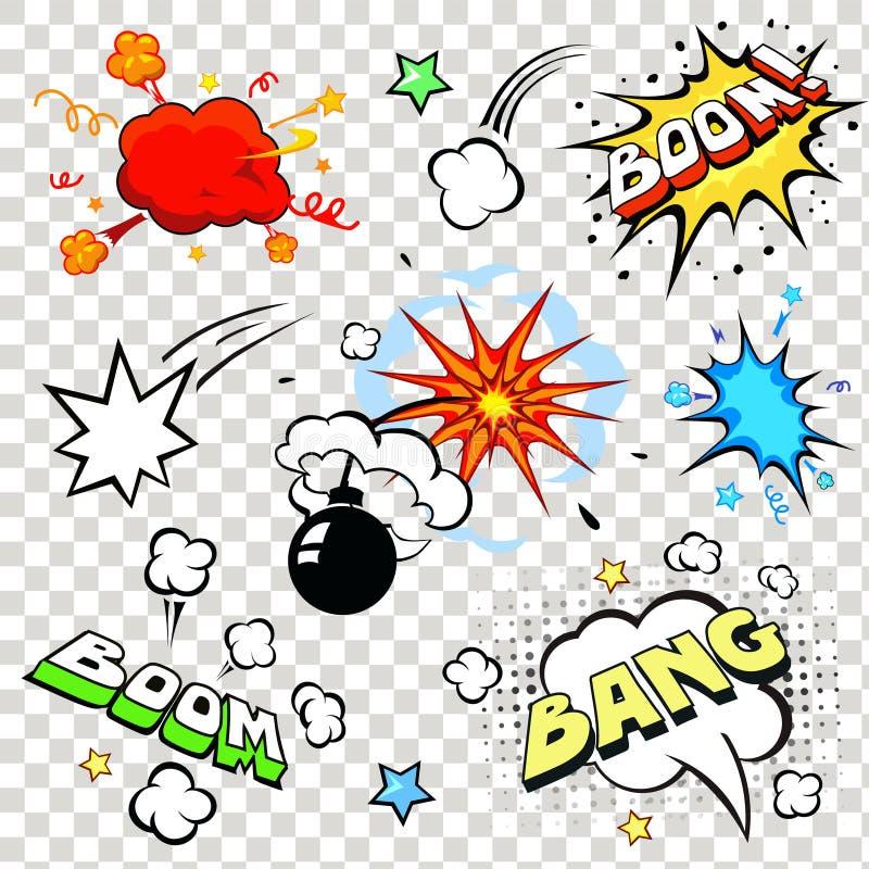 Komiczna mowa gulgocze w wystrzał sztuki stylu z bombą ilustracja wektor