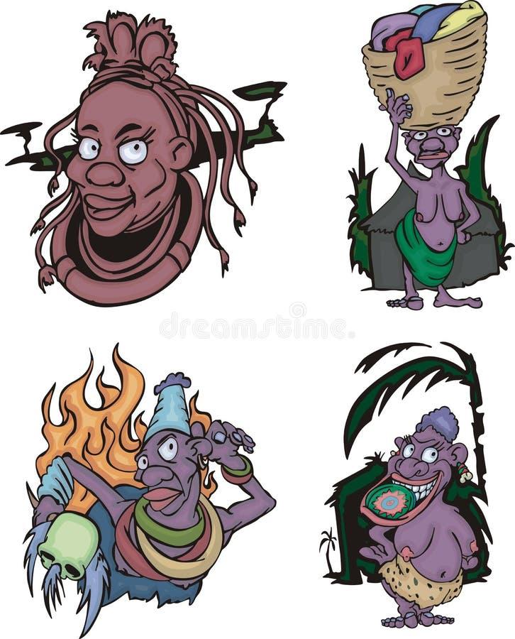 Komiczne Afrykańskie aborygen kobiety royalty ilustracja