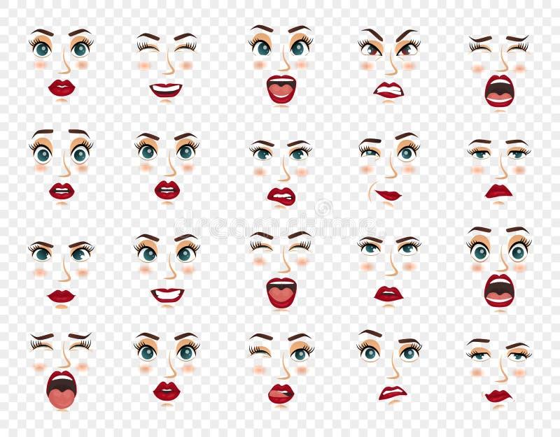 Komiczne emocje Kobieta wyrazy twarzy, gesty, emoci szczęścia niespodzianki obmierzłości smucenia zachwyta rozczarowanie ilustracji