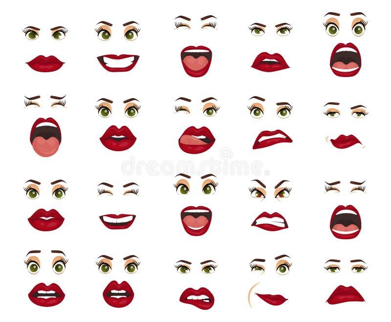 Komiczne emocje Kobieta wyrazy twarzy, gesty, emoci szczęścia niespodzianki obmierzłości smucenia zachwyta rozczarowanie royalty ilustracja