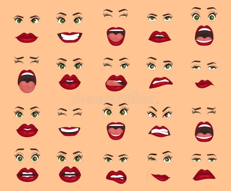 Komiczne emocje Kobieta wyrazy twarzy, gesty, emoci szczęścia niespodzianki obmierzłości smucenia zachwyta rozczarowanie ilustracja wektor