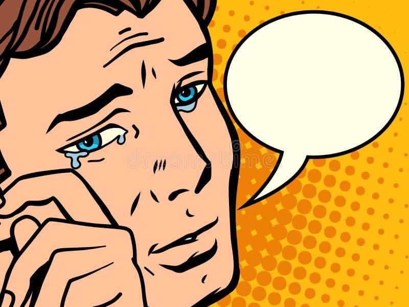Komiczne mężczyzna wytarć łzy ilustracja wektor