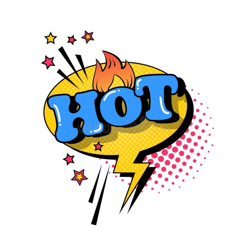 Komicznego mowy gadki bąbla wystrzału sztuki stylu teksta Gorąca Wyrażeniowa ikona ilustracji